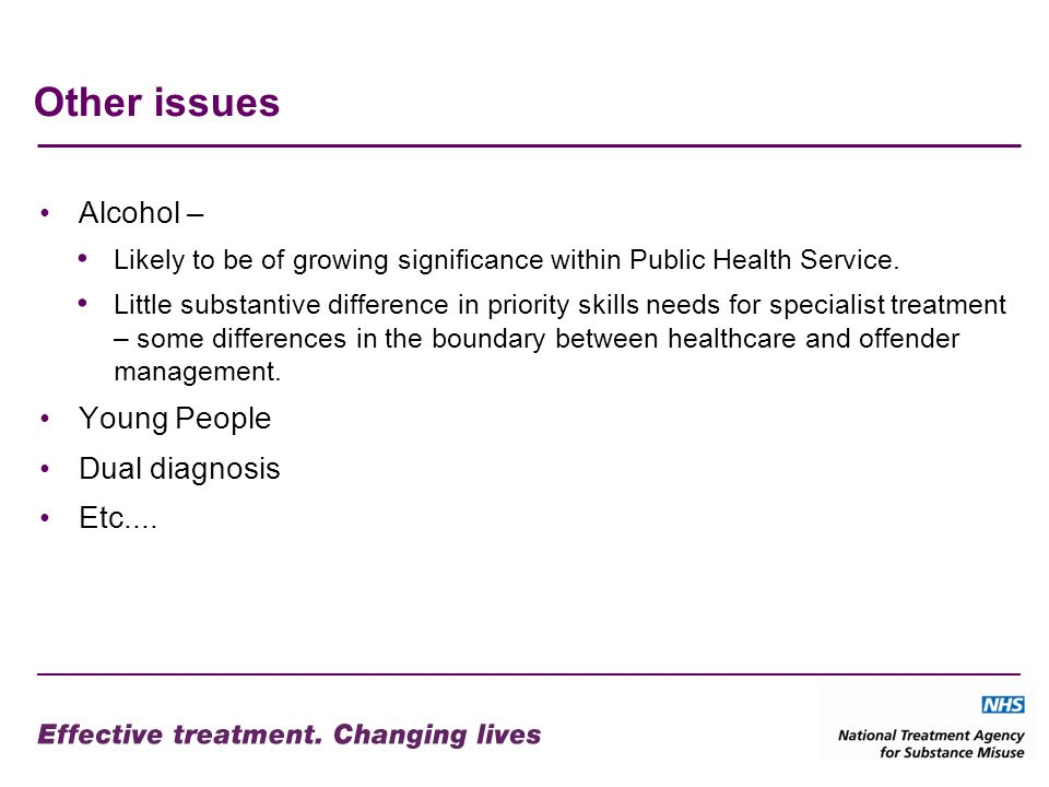 Other issues Alcohol – Likely to be of growing significance within Public Health Service.