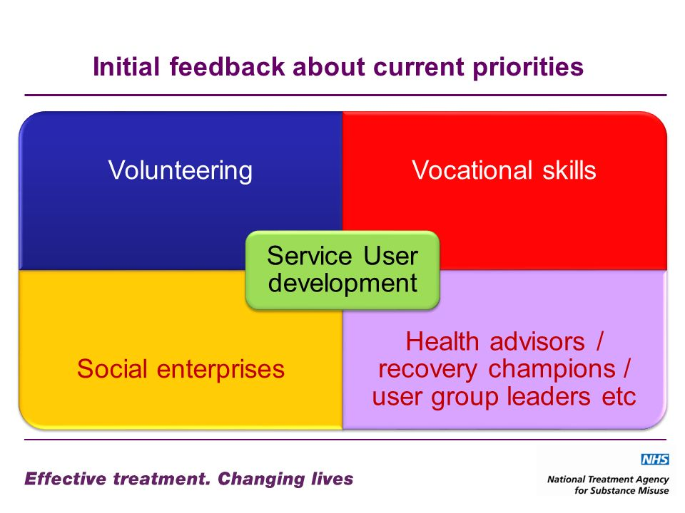 Initial feedback about current priorities VolunteeringVocational skills Social enterprises Health advisors / recovery champions / user group leaders etc Service User development