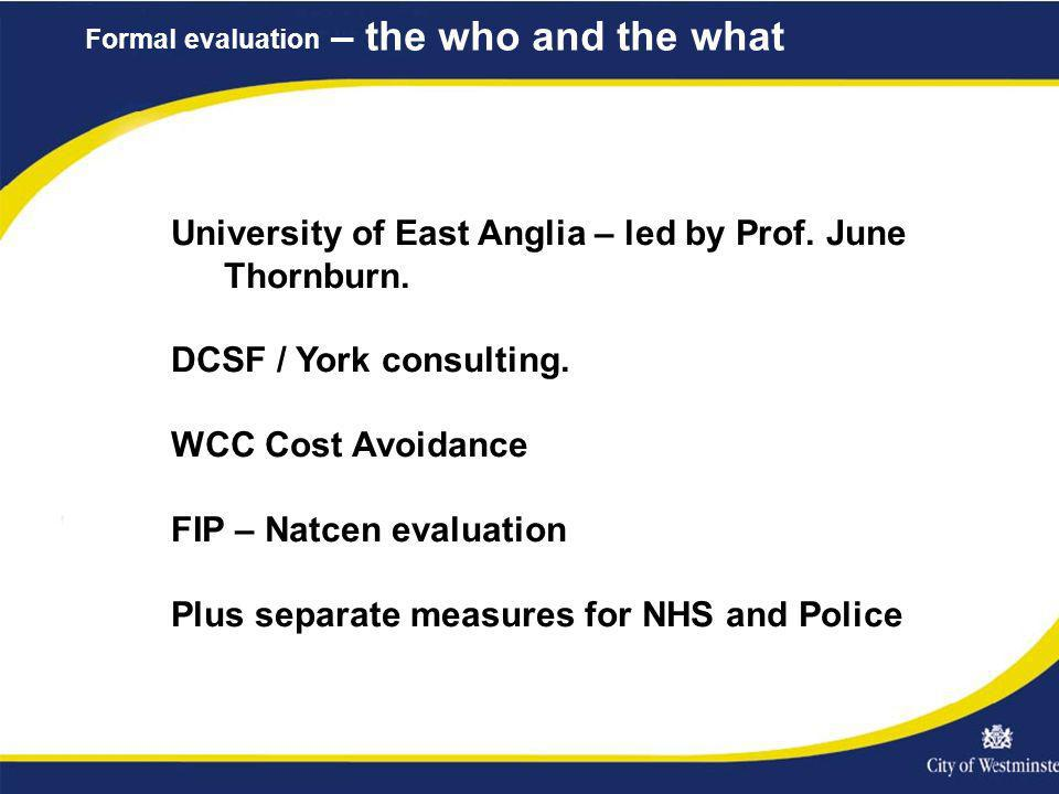 Formal evaluation – the who and the what University of East Anglia – led by Prof.