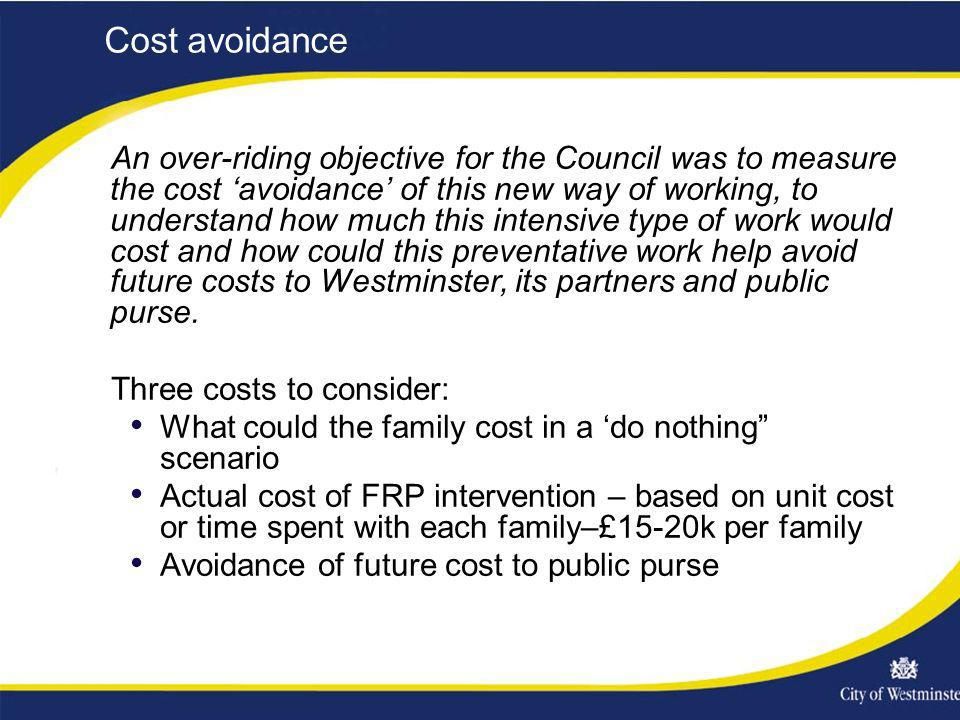 Cost avoidance An over-riding objective for the Council was to measure the cost avoidance of this new way of working, to understand how much this inte