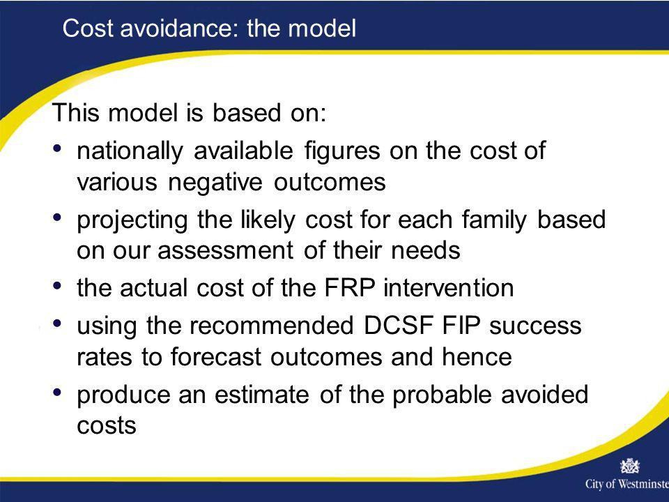 Cost avoidance: the model This model is based on: nationally available figures on the cost of various negative outcomes projecting the likely cost for each family based on our assessment of their needs the actual cost of the FRP intervention using the recommended DCSF FIP success rates to forecast outcomes and hence produce an estimate of the probable avoided costs