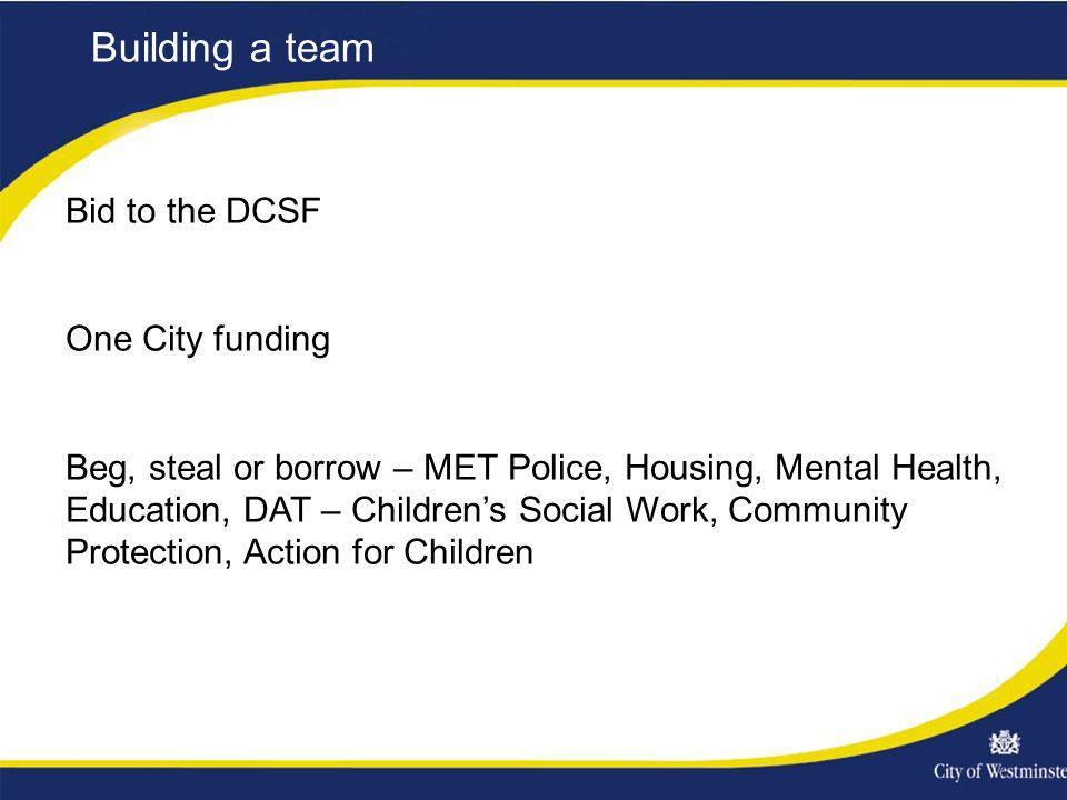 Building a team Bid to the DCSF One City funding Beg, steal or borrow – MET Police, Housing, Mental Health, Education, DAT – Childrens Social Work, Co
