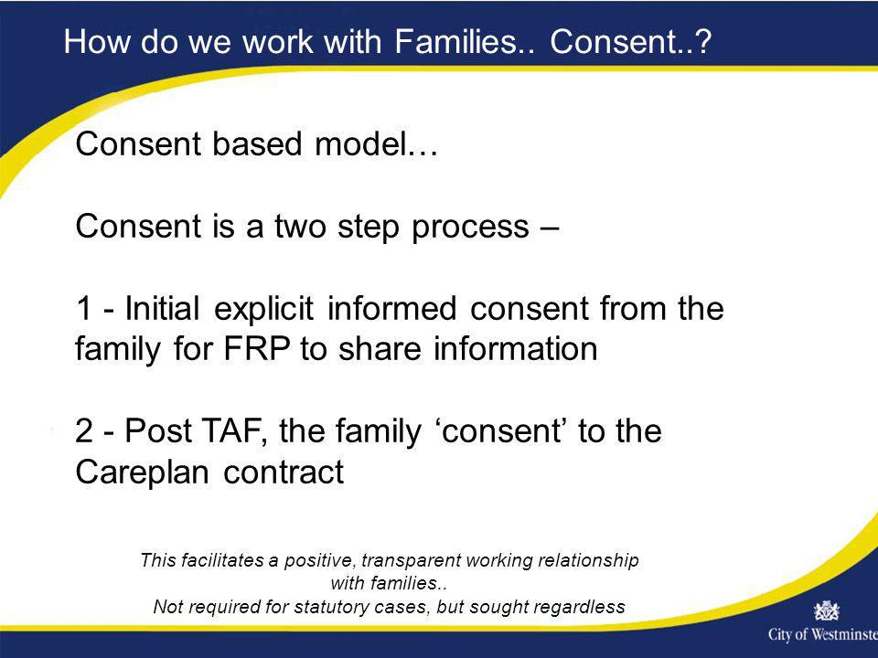 How do we work with Families.. Consent..? Consent based model… Consent is a two step process – 1 - Initial explicit informed consent from the family f