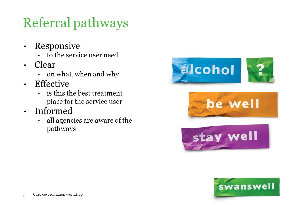 Referral pathways Responsive to the service user need Clear on what, when and why Effective is this the best treatment place for the service user Info