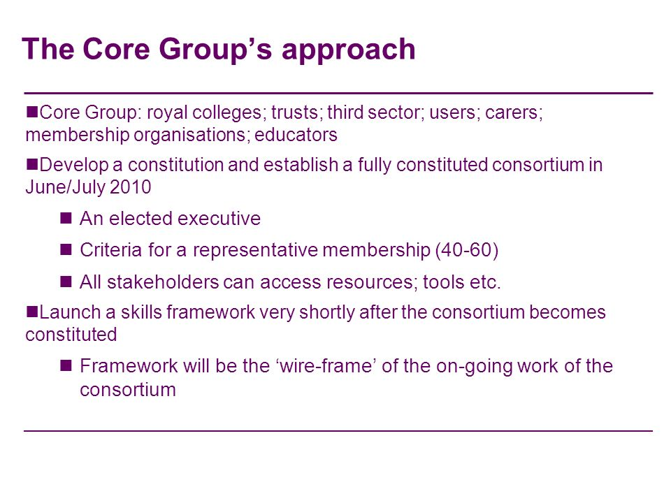 The Core Groups approach Core Group: royal colleges; trusts; third sector; users; carers; membership organisations; educators Develop a constitution a