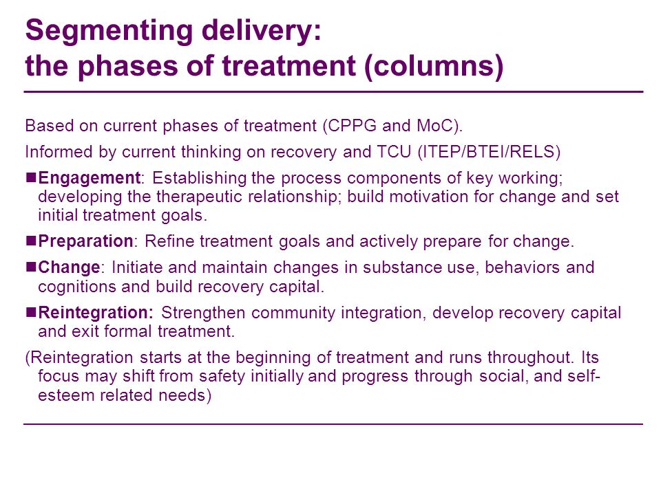 Segmenting delivery: the phases of treatment (columns) Based on current phases of treatment (CPPG and MoC). Informed by current thinking on recovery a