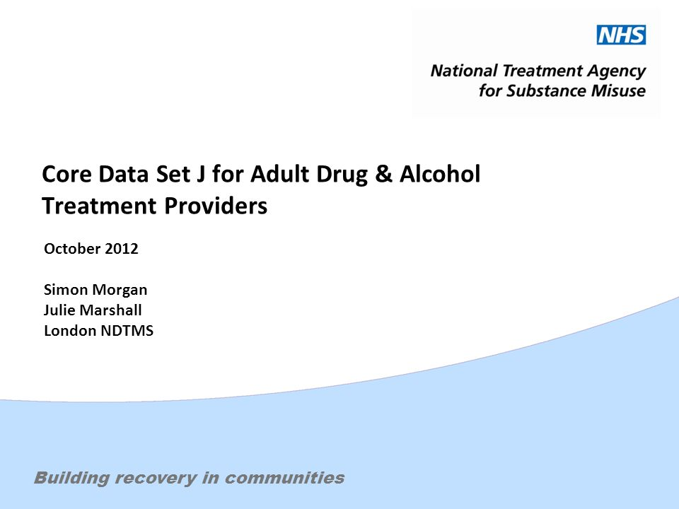 Effective treatment. Changing livesBuilding recovery in communities Core Data Set J for Adult Drug & Alcohol Treatment Providers October 2012 Simon Mo
