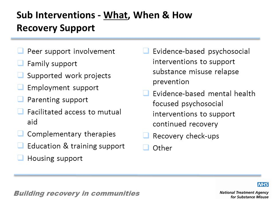 Building recovery in communities Sub Interventions - What, When & How Recovery Support Peer support involvement Family support Supported work projects