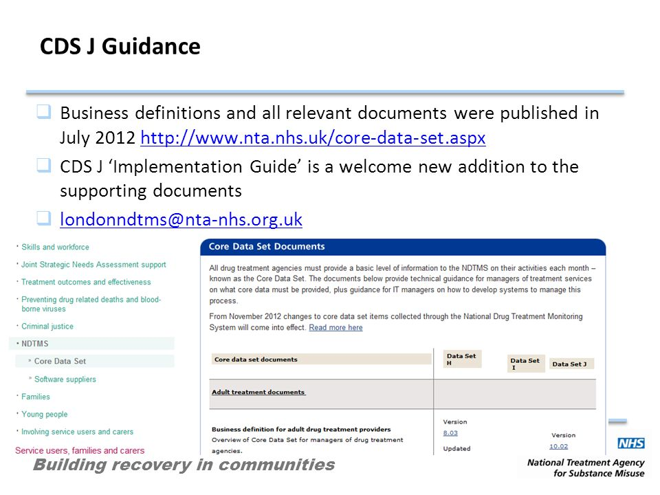 Building recovery in communities CDS J Guidance Business definitions and all relevant documents were published in July 2012 http://www.nta.nhs.uk/core-data-set.aspxhttp://www.nta.nhs.uk/core-data-set.aspx CDS J Implementation Guide is a welcome new addition to the supporting documents londonndtms@nta-nhs.org.uk