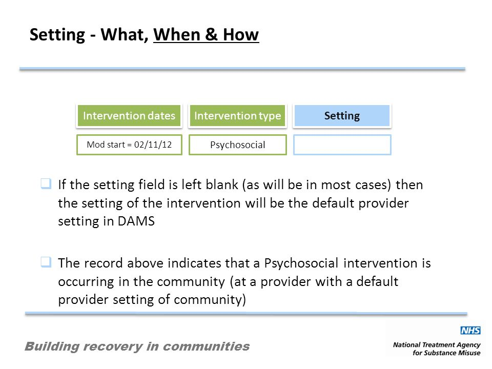 Building recovery in communities Setting - What, When & How Intervention dates Intervention type Setting Mod start = 02/11/12 Psychosocial If the sett