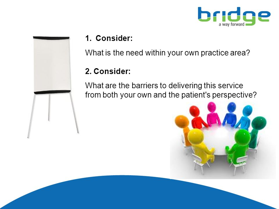 1.Consider:. What is the need within your own practice area.