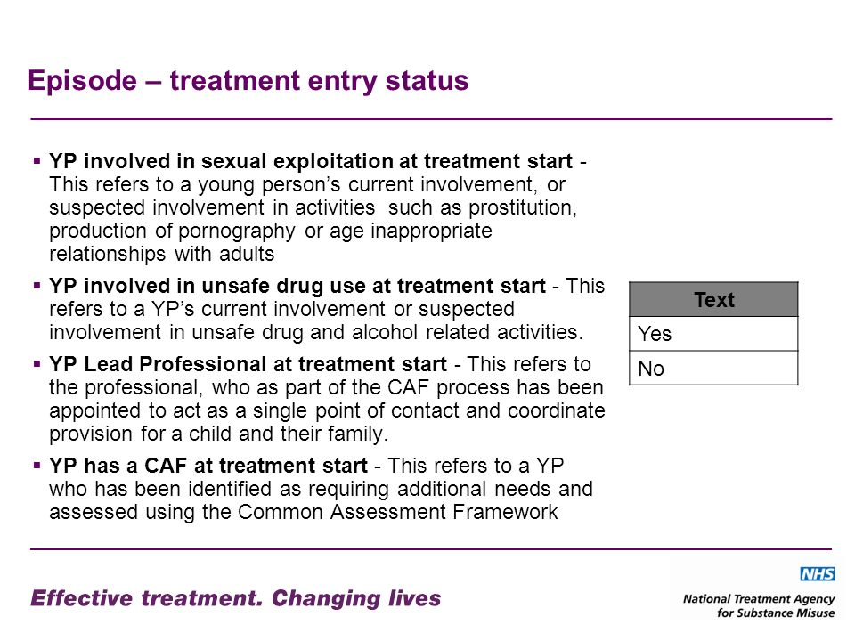 Episode – treatment entry status YP involved in sexual exploitation at treatment start - This refers to a young persons current involvement, or suspec