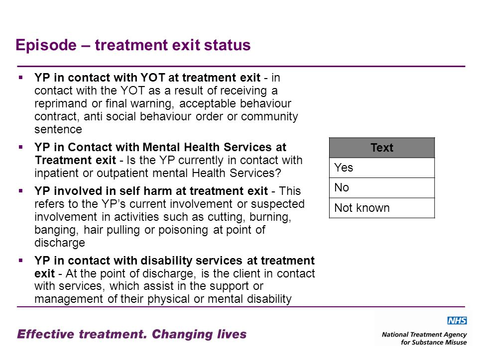 Episode – treatment exit status YP in contact with YOT at treatment exit - in contact with the YOT as a result of receiving a reprimand or final warning, acceptable behaviour contract, anti social behaviour order or community sentence YP in Contact with Mental Health Services at Treatment exit - Is the YP currently in contact with inpatient or outpatient mental Health Services.