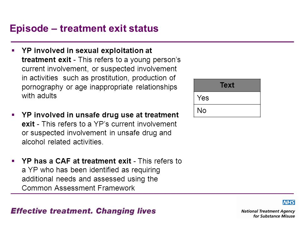 Episode – treatment exit status YP involved in sexual exploitation at treatment exit - This refers to a young persons current involvement, or suspected involvement in activities such as prostitution, production of pornography or age inappropriate relationships with adults YP involved in unsafe drug use at treatment exit - This refers to a YPs current involvement or suspected involvement in unsafe drug and alcohol related activities.