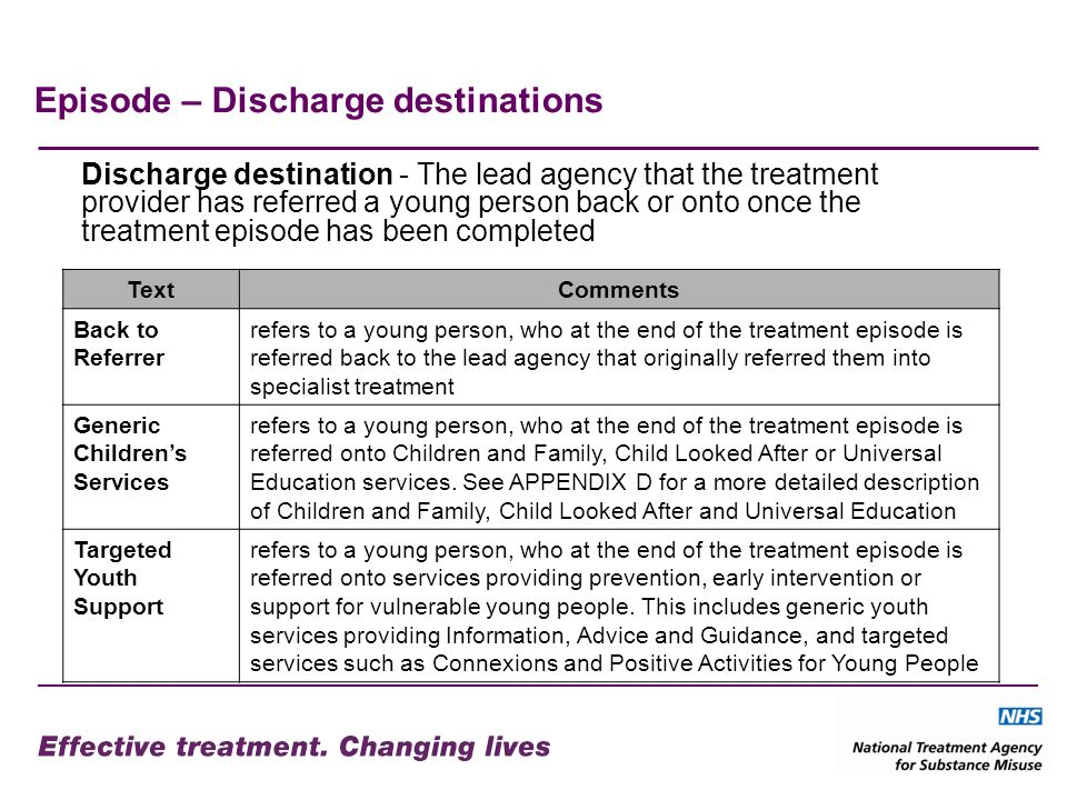 Episode – Discharge destinations Discharge destination - The lead agency that the treatment provider has referred a young person back or onto once the treatment episode has been completed TextComments Back to Referrer refers to a young person, who at the end of the treatment episode is referred back to the lead agency that originally referred them into specialist treatment Generic Childrens Services refers to a young person, who at the end of the treatment episode is referred onto Children and Family, Child Looked After or Universal Education services.