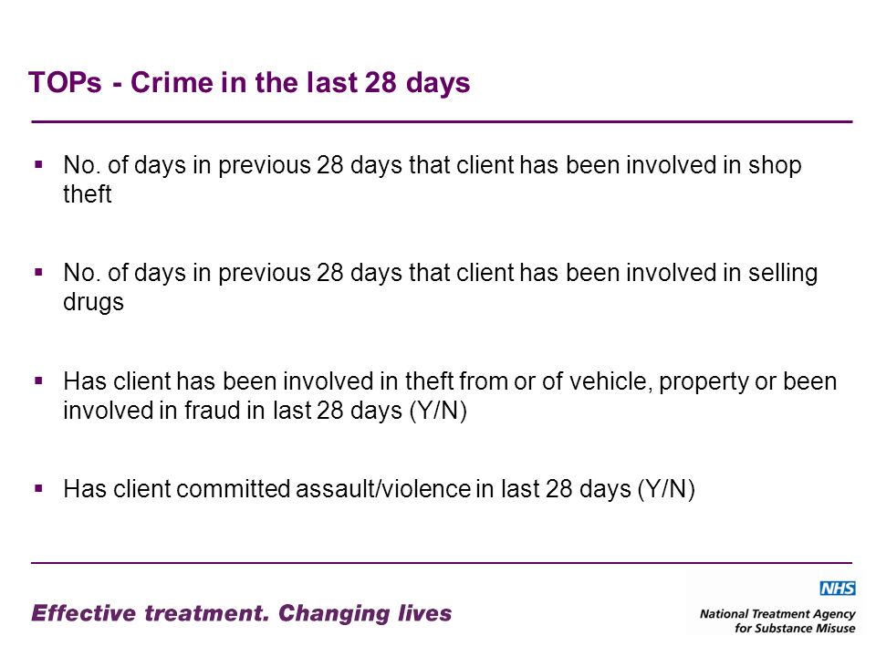 TOPs - Crime in the last 28 days No. of days in previous 28 days that client has been involved in shop theft No. of days in previous 28 days that clie