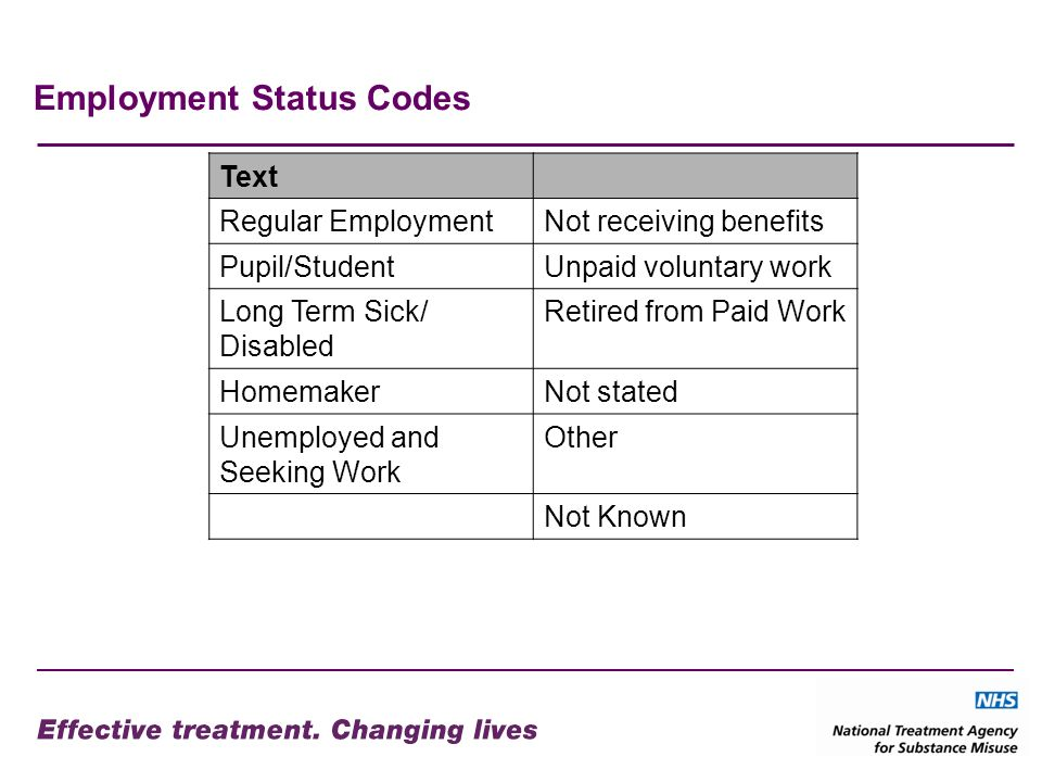 Employment Status Codes Text Regular EmploymentNot receiving benefits Pupil/StudentUnpaid voluntary work Long Term Sick/ Disabled Retired from Paid Work HomemakerNot stated Unemployed and Seeking Work Other Not Known