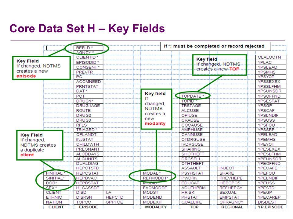Core Data Set H – Key Fields