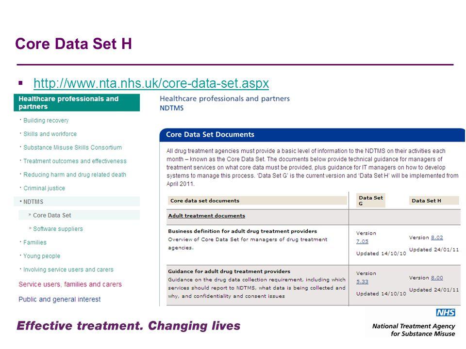 Core Data Set H http://www.nta.nhs.uk/core-data-set.aspx