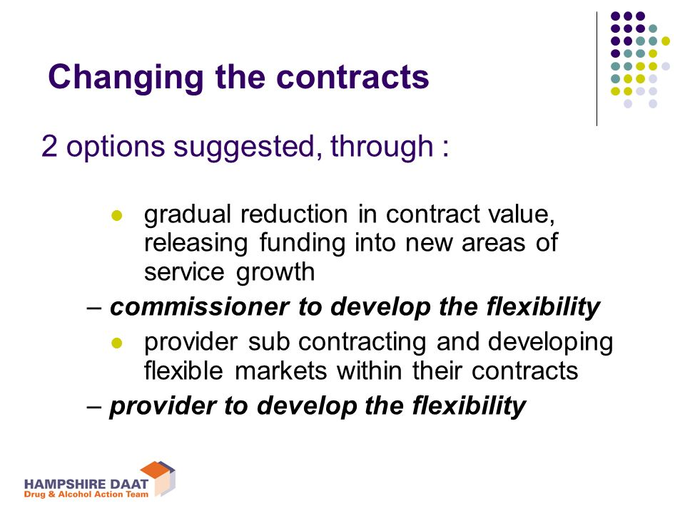 Changing the contracts 2 options suggested, through : gradual reduction in contract value, releasing funding into new areas of service growth – commissioner to develop the flexibility provider sub contracting and developing flexible markets within their contracts – provider to develop the flexibility