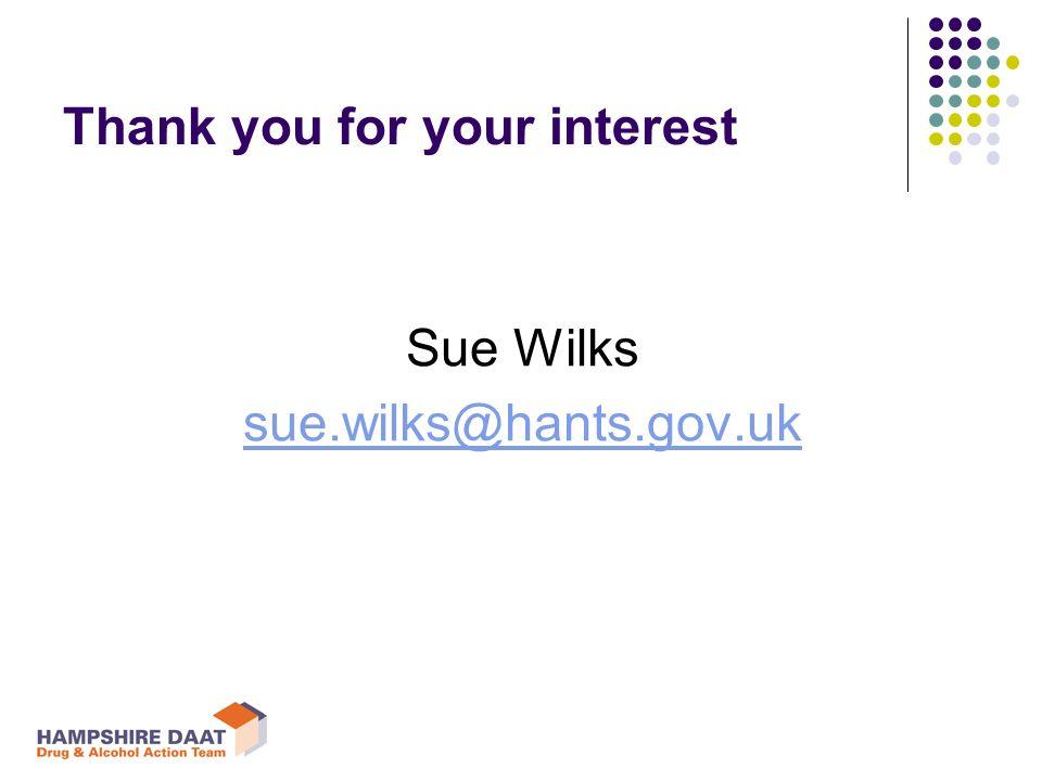 Thank you for your interest Sue Wilks sue.wilks@hants.gov.uk