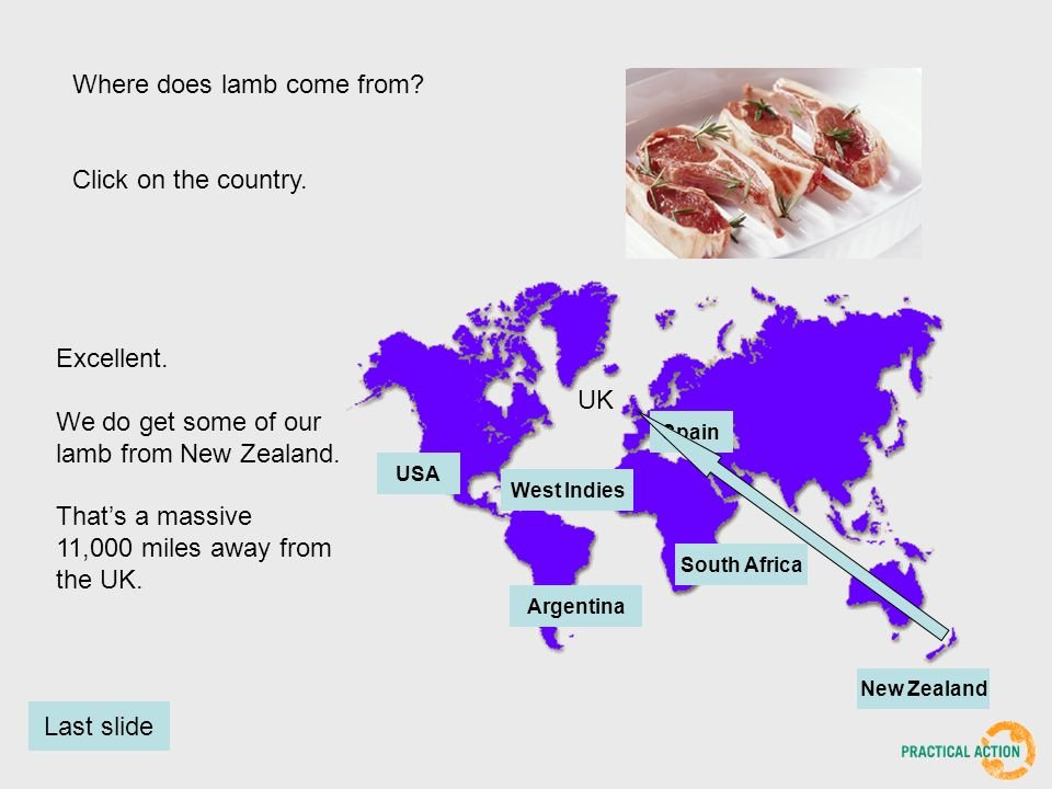 Where does lamb come from. Click on the country.