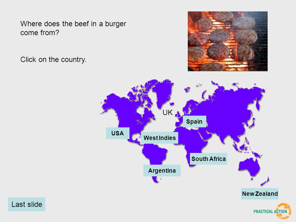 Where does the beef in a burger come from. Click on the country.
