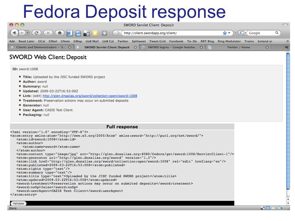 Fedora Deposit response