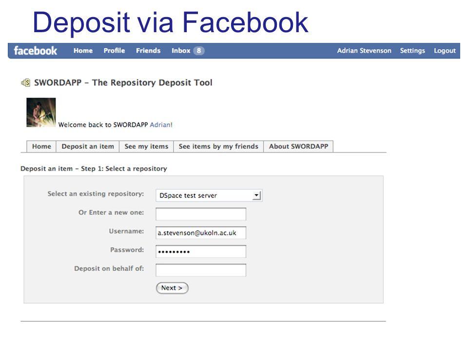 Deposit via Facebook
