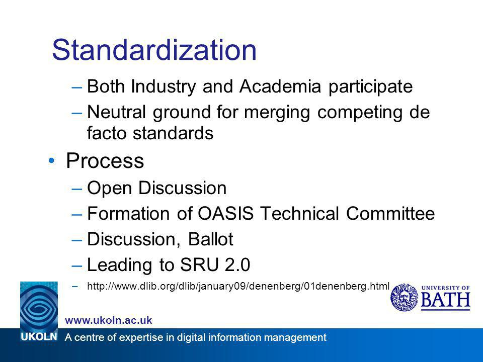 A centre of expertise in digital information management www.ukoln.ac.uk Standardization –Both Industry and Academia participate –Neutral ground for me