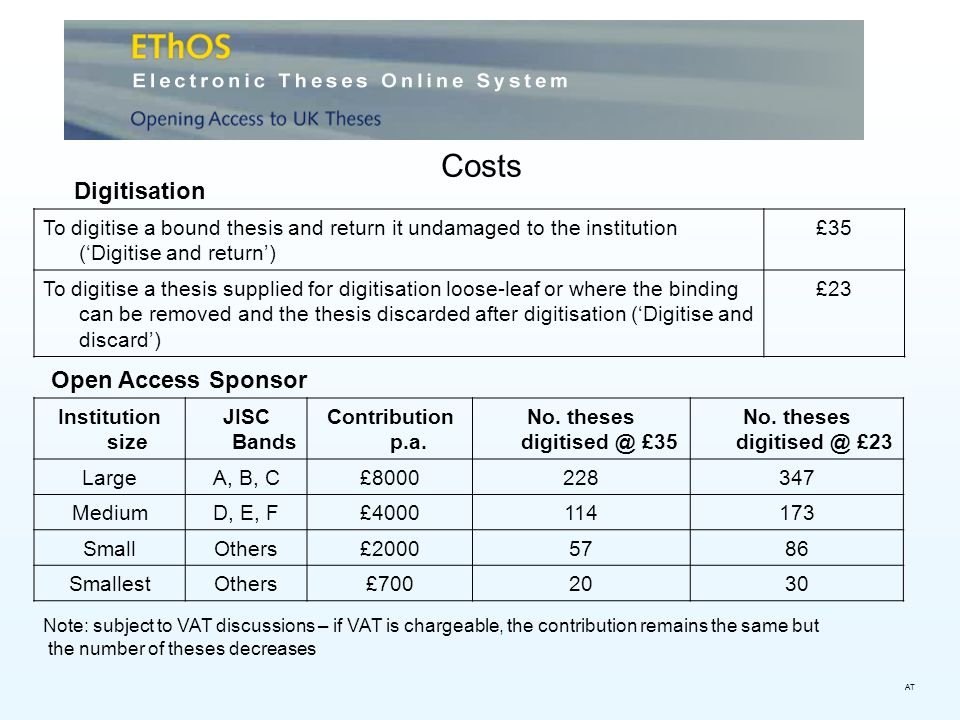Costs To digitise a bound thesis and return it undamaged to the institution (Digitise and return) £35 To digitise a thesis supplied for digitisation l