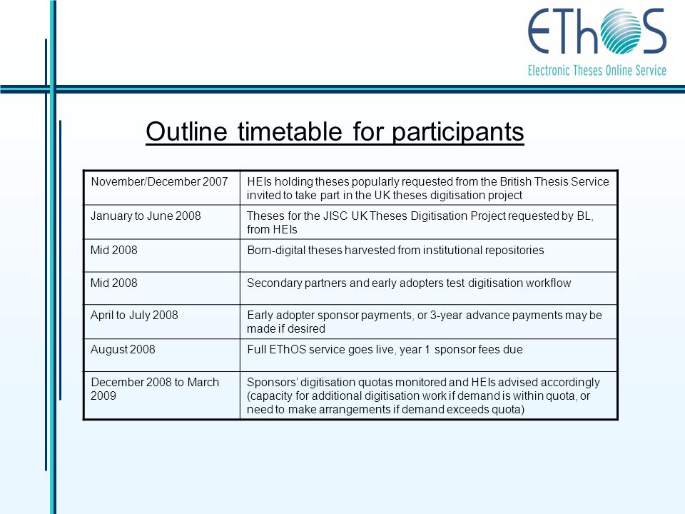 Outline timetable for participants November/December 2007HEIs holding theses popularly requested from the British Thesis Service invited to take part in the UK theses digitisation project January to June 2008Theses for the JISC UK Theses Digitisation Project requested by BL, from HEIs Mid 2008Born-digital theses harvested from institutional repositories Mid 2008Secondary partners and early adopters test digitisation workflow April to July 2008Early adopter sponsor payments, or 3-year advance payments may be made if desired August 2008Full EThOS service goes live, year 1 sponsor fees due December 2008 to March 2009 Sponsors digitisation quotas monitored and HEIs advised accordingly (capacity for additional digitisation work if demand is within quota, or need to make arrangements if demand exceeds quota)