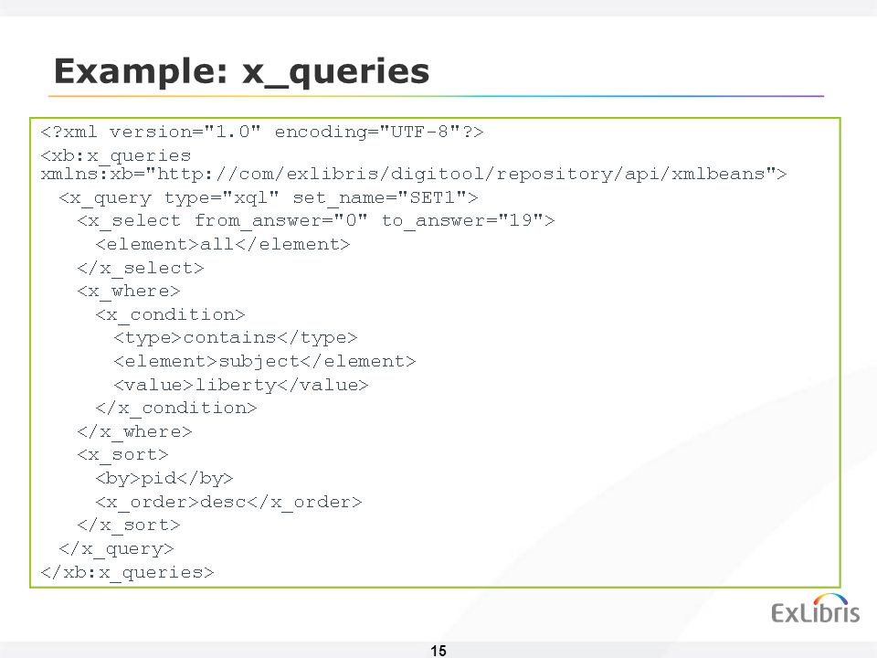 15 Example: x_queries