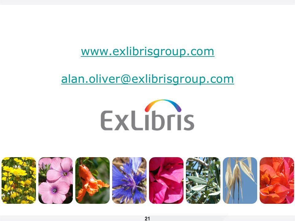 21 www.exlibrisgroup.com alan.oliver@exlibrisgroup.com