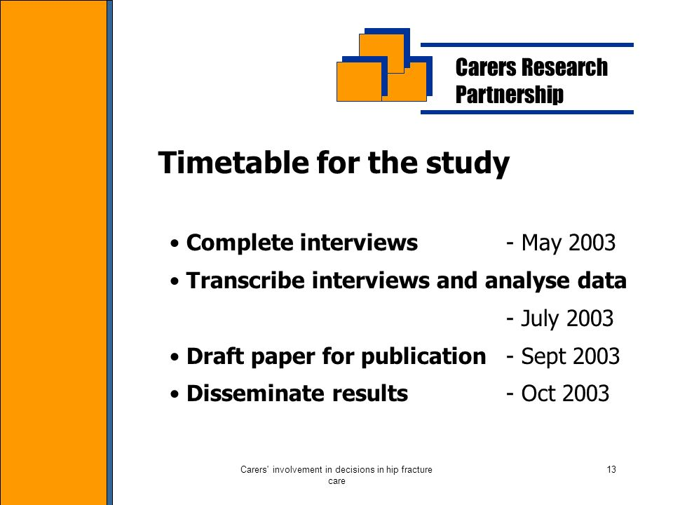 Carers involvement in decisions in hip fracture care 13 Carers Research Partnership Timetable for the study Complete interviews - May 2003 Transcribe interviews and analyse data - July 2003 Draft paper for publication - Sept 2003 Disseminate results - Oct 2003