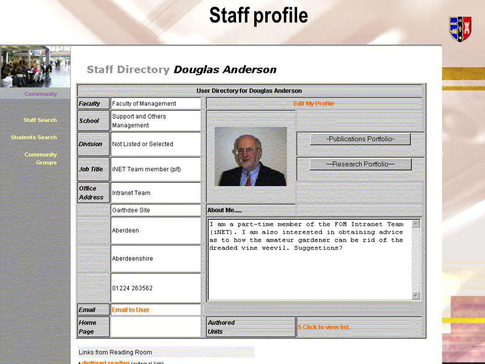 Centre for the Enhancement of Learning and Teaching User Details (formerly Profile) All messaging roads lead to the User Details area All registered Users (staff and students) have User Details Provides a self-publishing facility Links to Users research and publications available if required Other than name and User ID, User can edit User Details information Can display or hide personal information as determined by User Edit Staff Account to enable edit by User e.g.