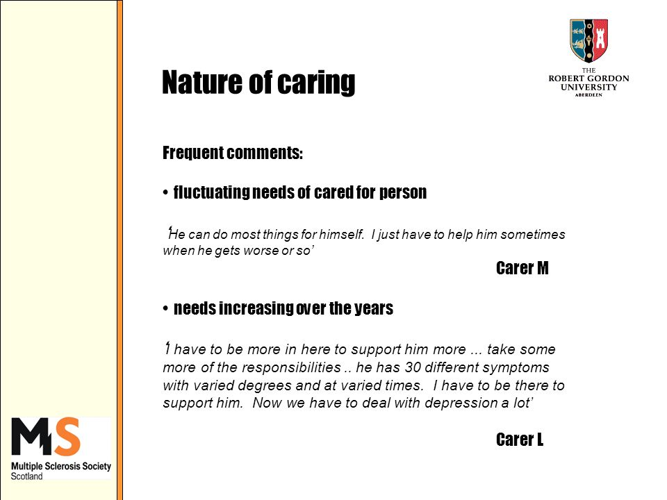 Nature of caring Frequent comments: fluctuating needs of cared for person He can do most things for himself.
