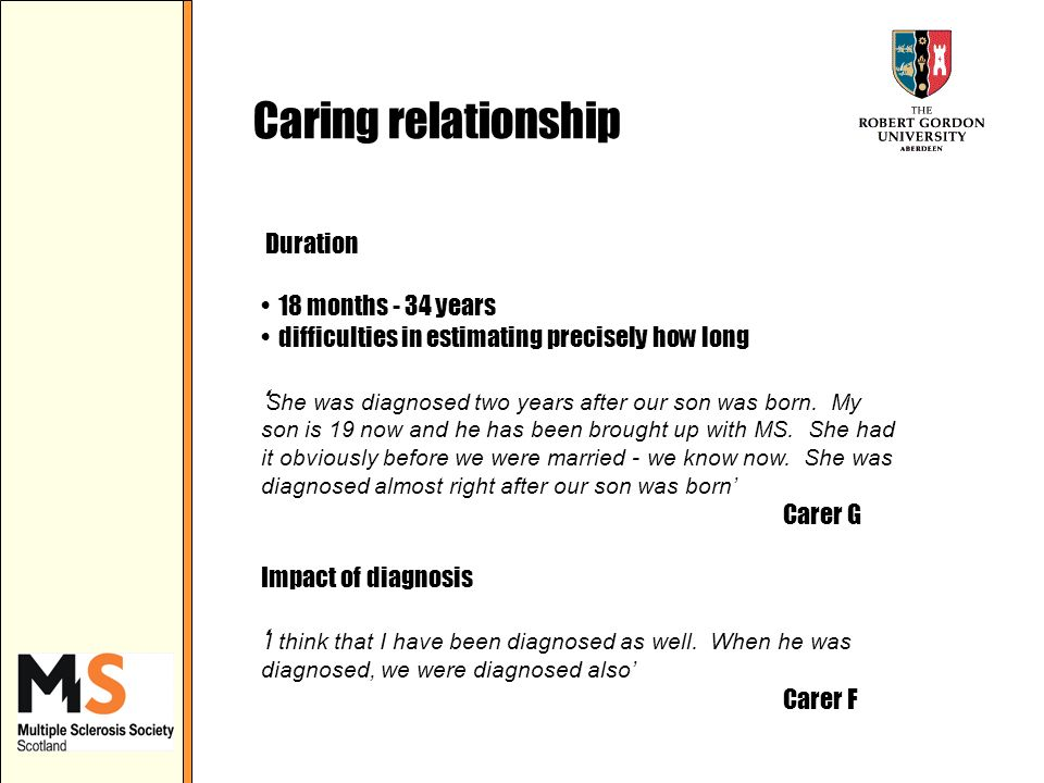 Caring relationship Duration 18 months - 34 years difficulties in estimating precisely how long She was diagnosed two years after our son was born.