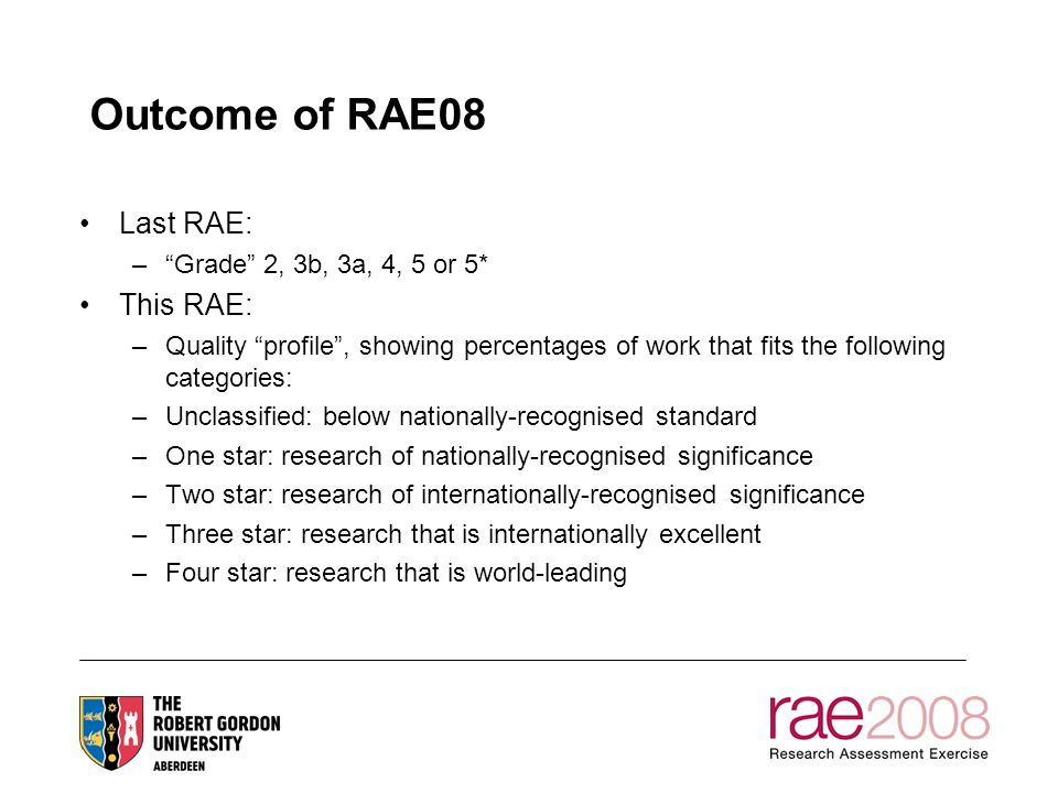 Outcome of RAE08 Last RAE: –Grade 2, 3b, 3a, 4, 5 or 5* This RAE: –Quality profile, showing percentages of work that fits the following categories: –Unclassified: below nationally-recognised standard –One star: research of nationally-recognised significance –Two star: research of internationally-recognised significance –Three star: research that is internationally excellent –Four star: research that is world-leading
