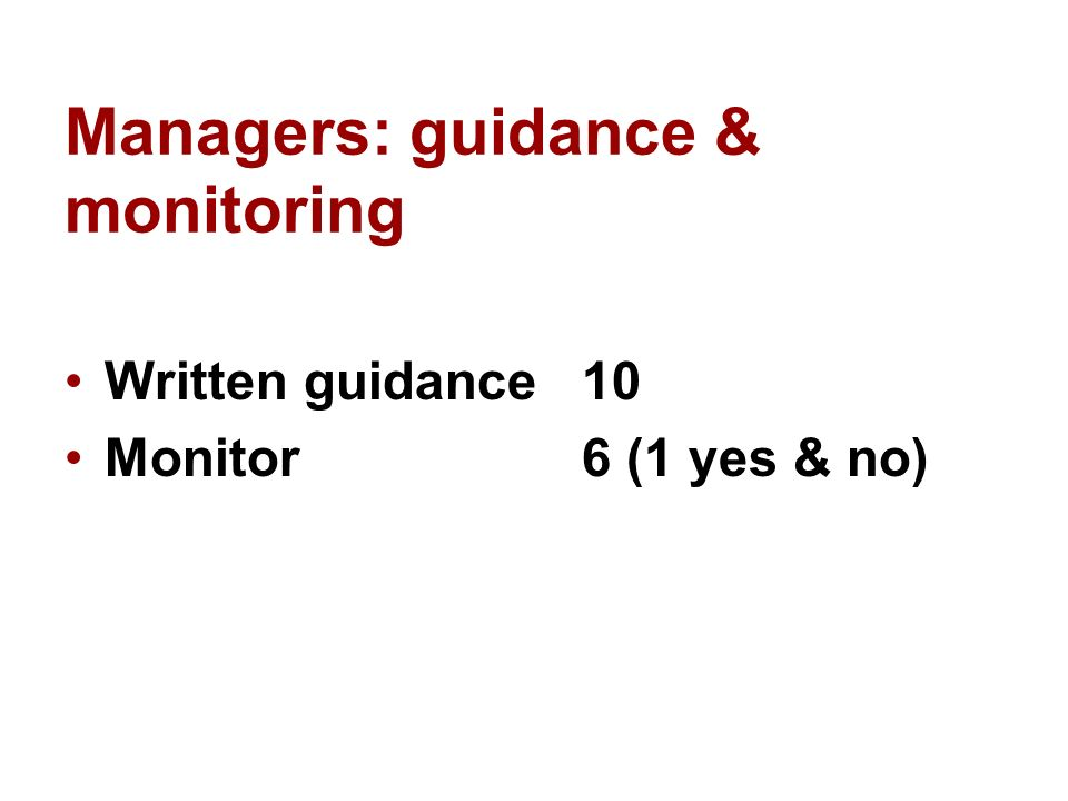 Managers: guidance & monitoring Written guidance 10 Monitor 6 (1 yes & no)