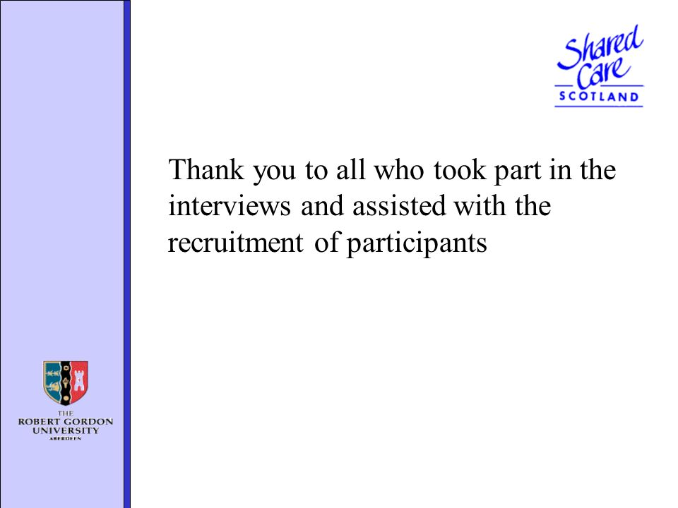 Thank you to all who took part in the interviews and assisted with the recruitment of participants