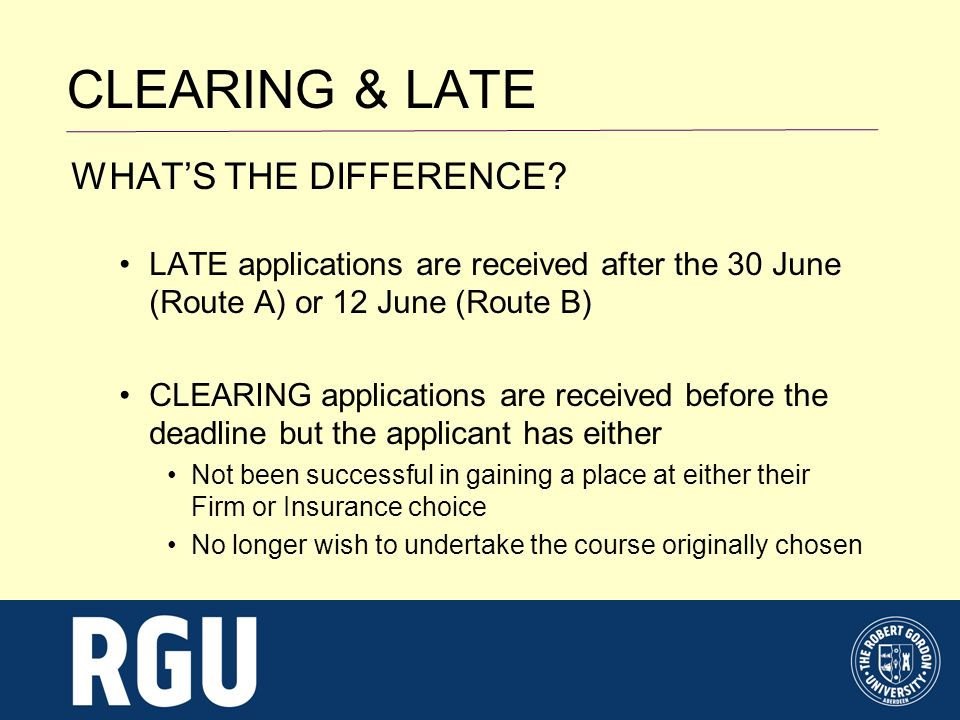 CLEARING & LATE WHATS THE DIFFERENCE.
