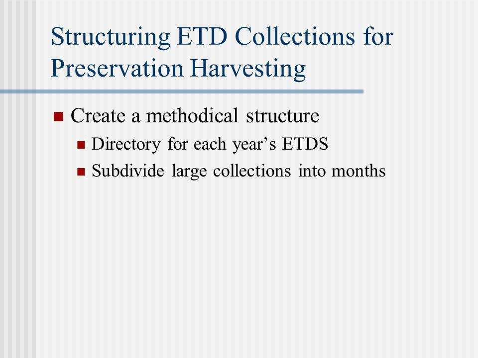 Structuring ETD Collections for Preservation Harvesting Create a methodical structure Directory for each years ETDS Subdivide large collections into months