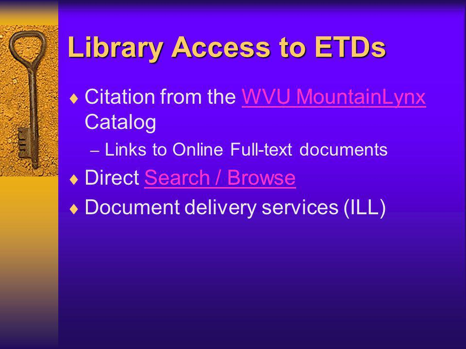Library Processing Library / OIT sends copies of ETD files and packets to UMI for publication and archival services.