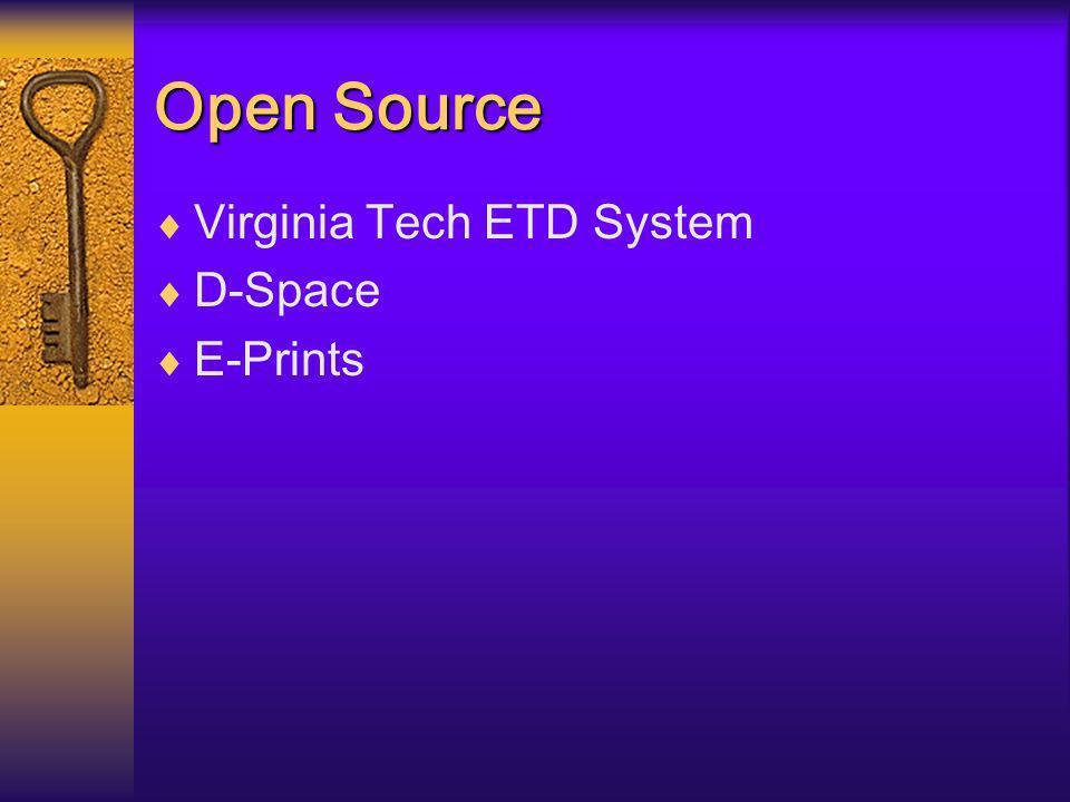 Open Source Virginia Tech ETD System D-Space E-Prints