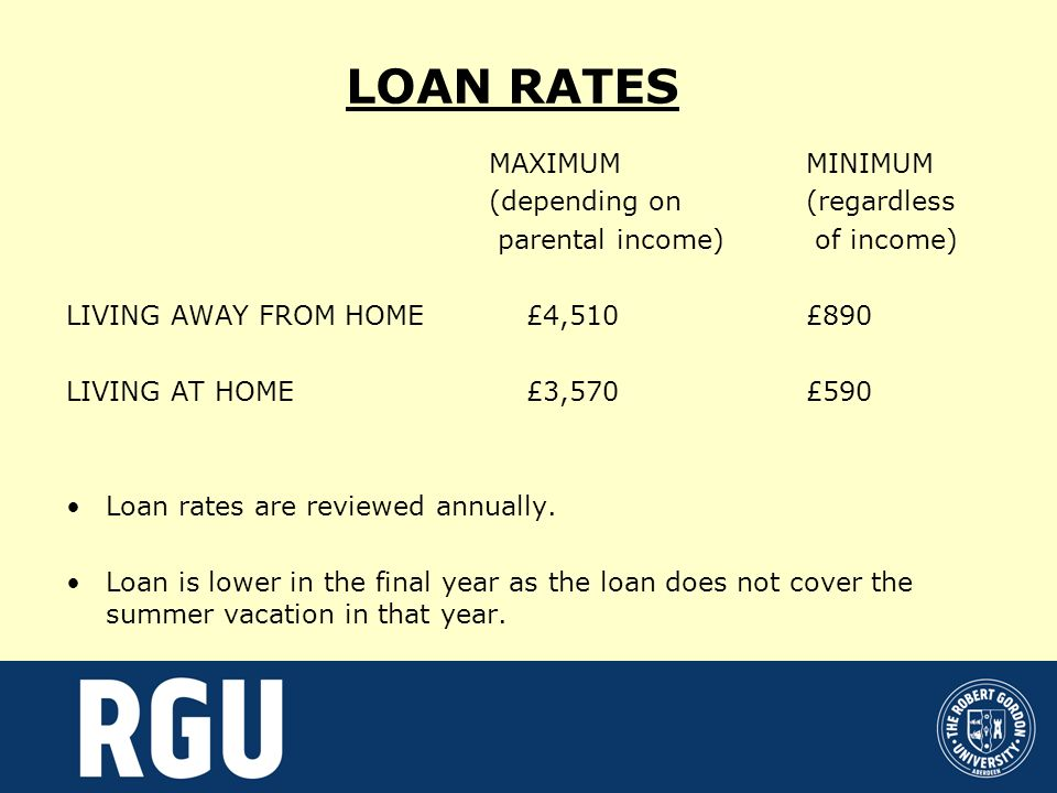 LOAN RATES MAXIMUMMINIMUM (depending on (regardless parental income) of income) LIVING AWAY FROM HOME £4,510£890 LIVING AT HOME £3,570£590 Loan rates are reviewed annually.