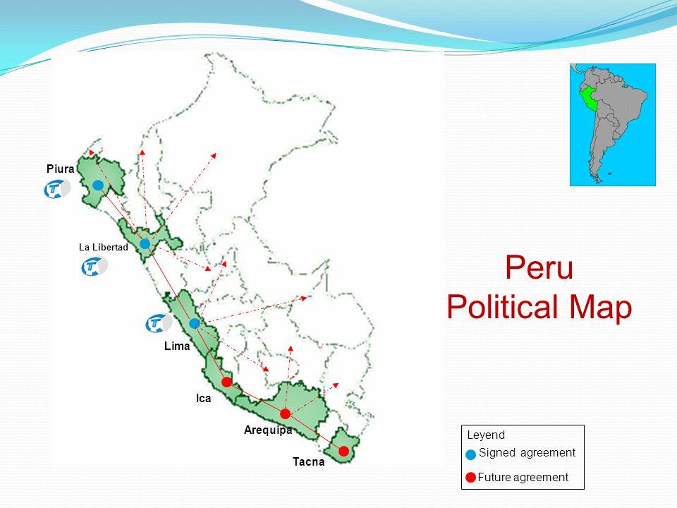 Tacna Arequipa Ica Lima La Libertad Piura Peru Political Map Signed agreement Future agreement Leyend