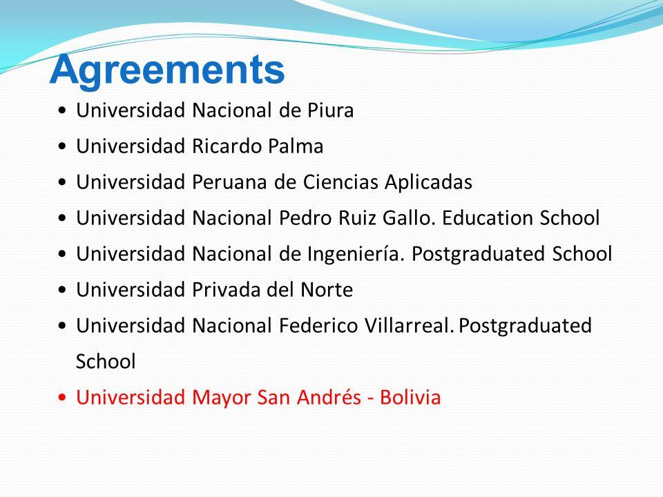 Universidad Nacional de Piura Universidad Ricardo Palma Universidad Peruana de Ciencias Aplicadas Universidad Nacional Pedro Ruiz Gallo.