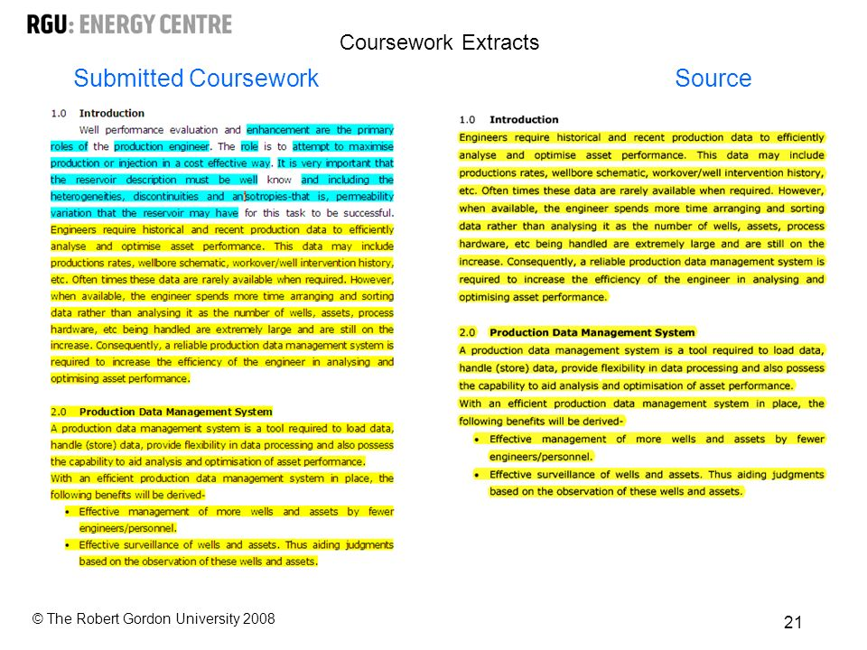 © The Robert Gordon University Submitted CourseworkSource Coursework Extracts