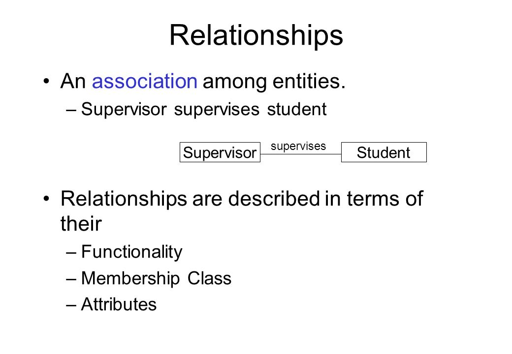Relationships An association among entities. –Supervisor supervises student Relationships are described in terms of their –Functionality –Membership C